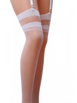 Bas féminin blanc avec bande transparente sur jarretière ST002