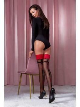 Bas très féminin bicolore autoportant noir et rouge cerise ST114