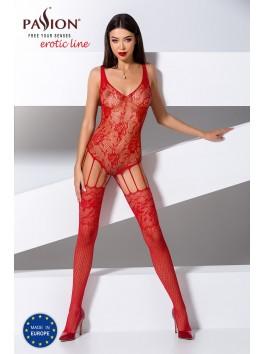 Combinaison rouge en résille sensuelle façon body jarretelles BS074R