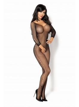 Combinaison sexy en résille noire avec manches 3/4 Martha Diamond
