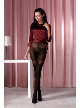 Collant glamour féminin noir motif beige et bordeaux TI113