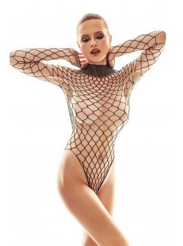 Body en résille filet noire avec manches féminines Forca