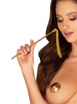 Plumeau plume noire sexy avec fouet doré A754
