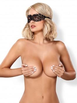 Masque noir sexy en guipure fantaisie A710