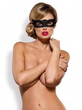 Masque érotique en guipure noire et satin A700