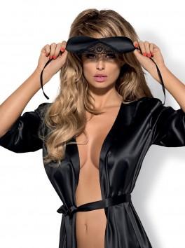 Masque élégant satiné noir sexy  avec dentelle Satinia