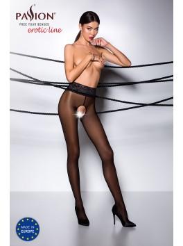 Collant noir élégant ouverture sexy avec dentelle à la taille TI008B