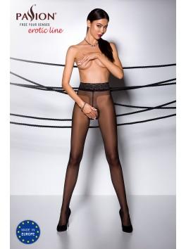 Collant noir intemporel avec ouverture sexy à l'entrejambe TI001B