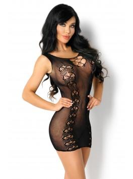 Robe sensualité retrouvée en résille noire Paola