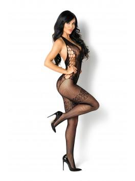 Combinaison en résille sexy motif body ouvert avec bas Lupita