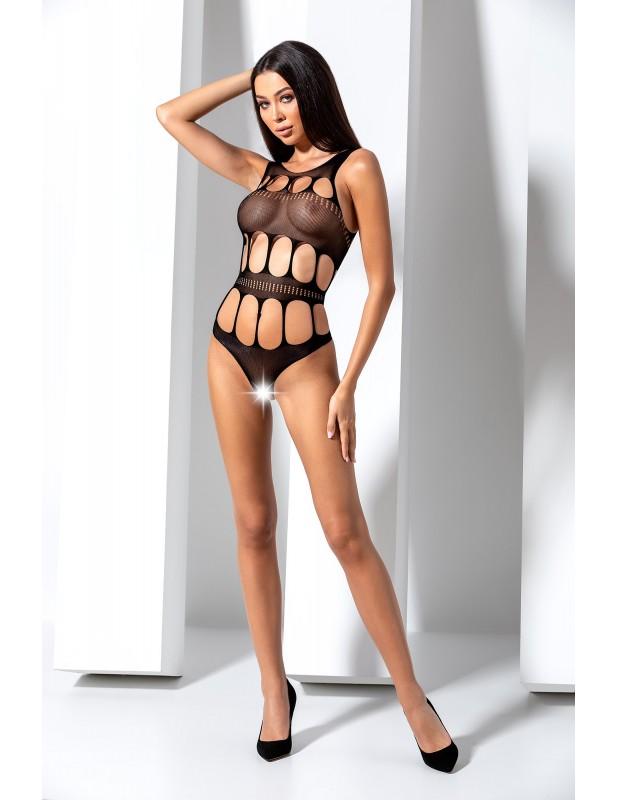 Body en résille noire avec ouvertures sexy BS083B