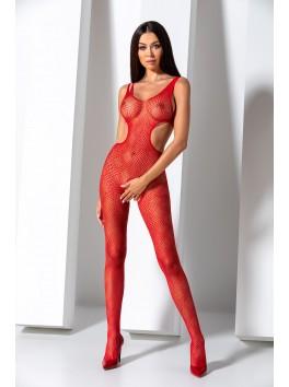 Combinaison en résille mosaïque rouge féminine BS085R