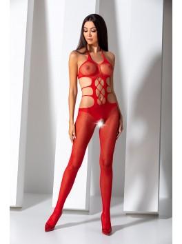 Combinaison rouge en résille fantaisie sexy avec effet laçages BS084R