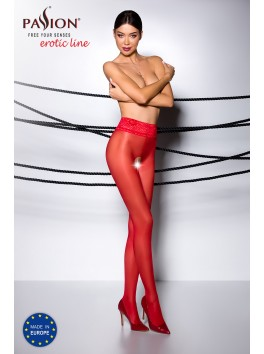 Collant rouge élégant ouverture sexy avec dentelle à la taille TI008R